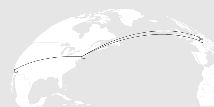 Flightmap FRA-NYC-LAX BER-NYC